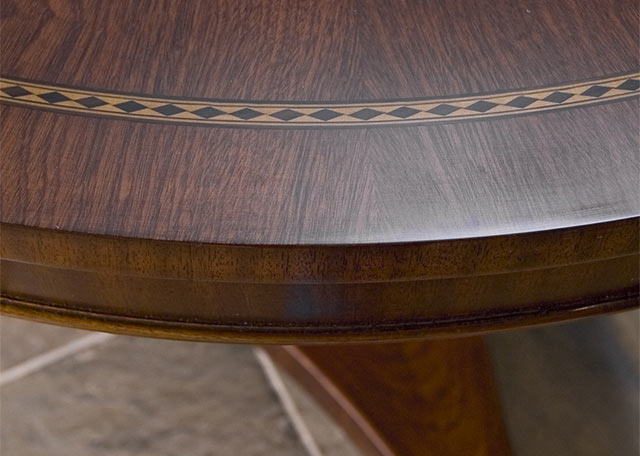 Closeup of veneer on bespoke table
