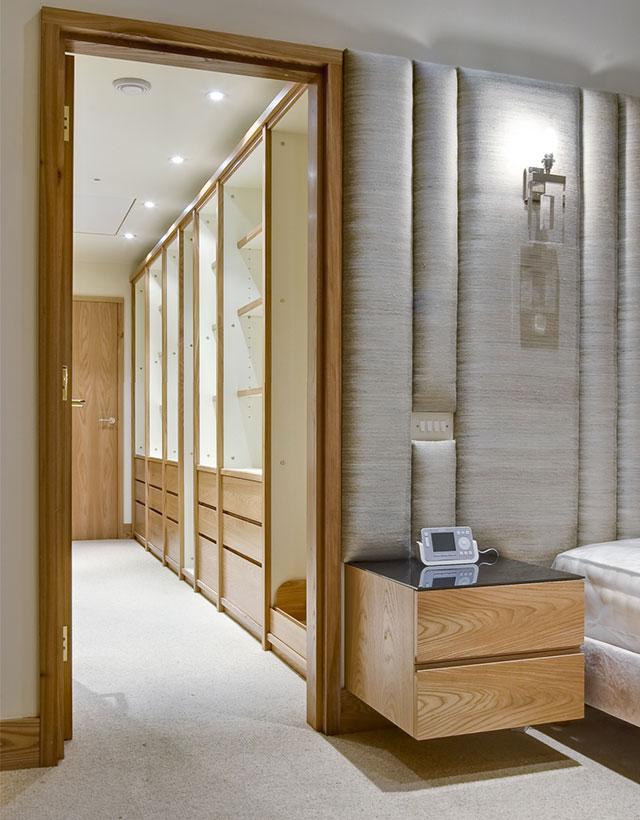 Walk in wardrobe and custom bedside cabinet